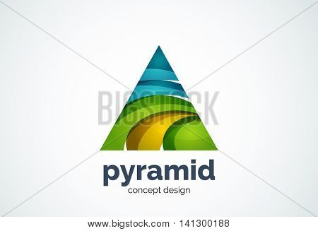 Pyramid logo template, triangle cycle concept - geometric minimal style, created with overlapping curve elements and waves. Corporate identity emblem, abstract business company branding element