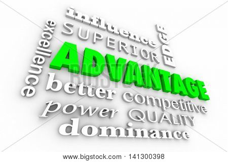 Advantage Competitive Edge Best Words Collage 3d Illustration