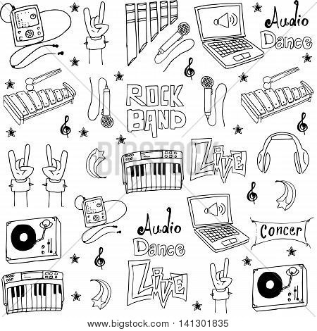 Collection stock music object doodles vector illustration