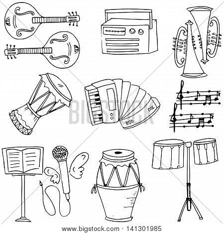 Stock music set doodles vector art illustration