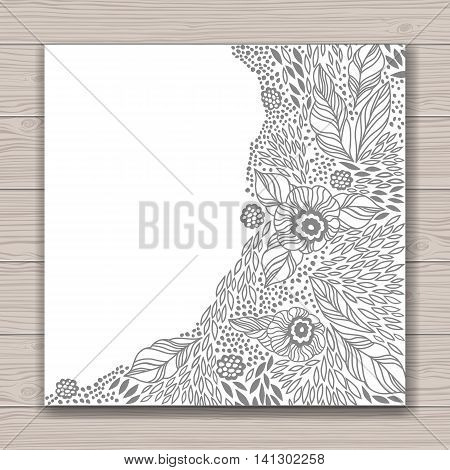 Greeting card set with abstract background with contour drawing of flowers . Vector illustration. Place for text. Easy to edit