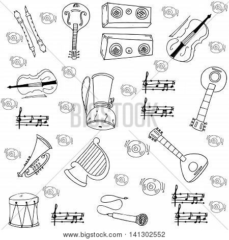 Doodle of music element vector art collection stock
