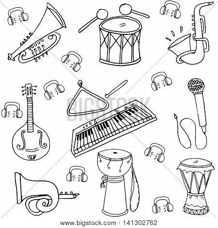 Hand draw stock music set doodles vector art illustration