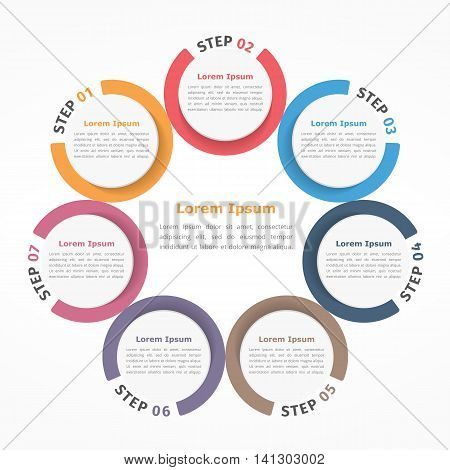 Circle diagram with seven elements steps or options, flowchart or workflow diagram template, vector eps10 illustration