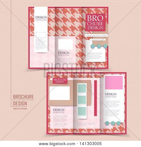 Pink Houndstooth Background Tri-fold Brochure