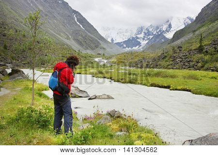 Nature photographer in Altai Mountains, Russian Federation