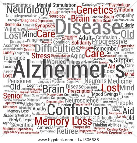Vector concept conceptual Alzheimer`s disease symptoms abstract square word cloud isolated on background