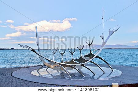 Reykjavik Iceland - November 12 2013: Sun Voyager Viking sculpture which is one of city symbol of a dream of hope progress and freedom.