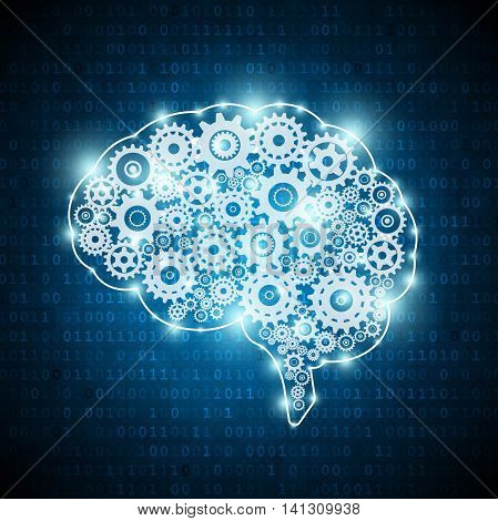 Artificial intelligence concept brain on digital background
