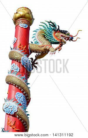 Chinese style golden dragon statue isolated on white background