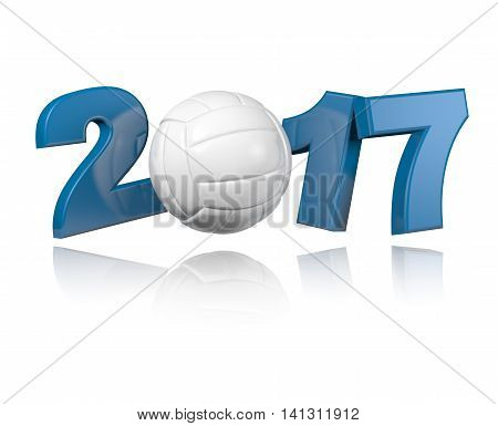 Volleyball 2017 3D illustration design with a White Background