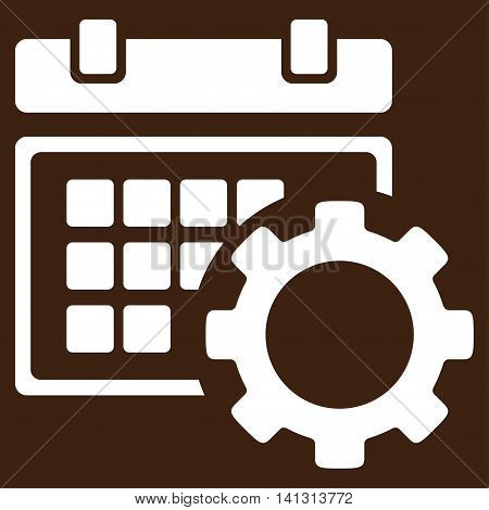 Schedule Preferences vector icon. Style is flat symbol, white color, rounded angles, brown background.
