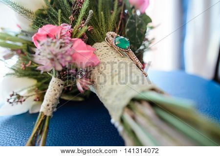 Wedding Bouquet With Pink Flowers