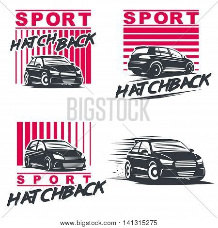 Set of four sport cars logo, badge illustration on white background.Drift, Drag racing, Tuning, Motor Sport. Vector EPS10.