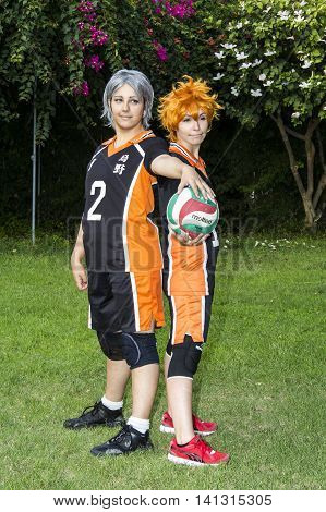 CAGLIARI, ITALY - August 9, 2015: Lost in Cosplay at the former glassworks Pirri - Sardinia - girls in cosplay costume