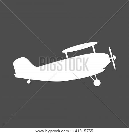 White biplane icon. The biplane is shown from side. Isolated vector illustration.
