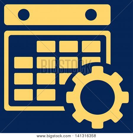 Organizer Preferences vector icon. Style is flat symbol, yellow color, rounded angles, blue background.