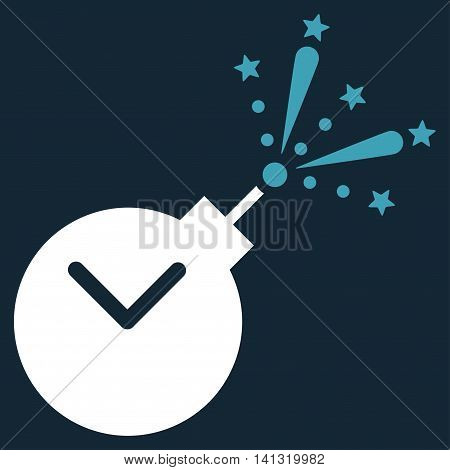 Time Fireworks Charge vector icon. Style is bicolor flat symbol, blue and white colors, rounded angles, dark blue background.