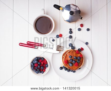 Breakfast With Pancakes, Berries And Coffee
