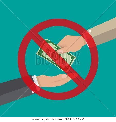hand giving money to other hand. anti Corruption concept. vector illustration in flat style