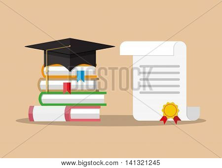 White unrolled paper diploma scroll with yellow stamp, red ribbons and black graduation cap, pile of books. Graduation concept. vector illustration in flat style on green background