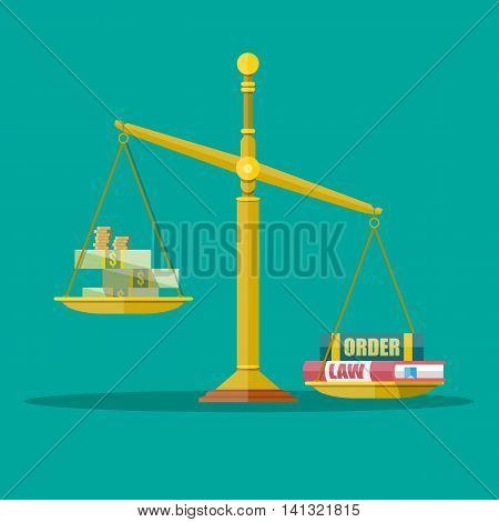 Gold Justice scales with dollar cash, coins and law, order books. making decision beetwin money and law. vector illustration in flat style on green background