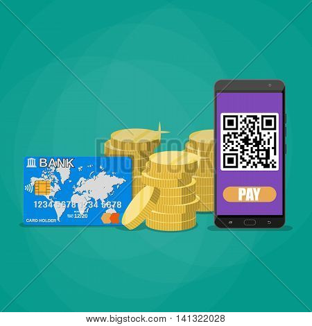 Phone wit qr code application, gold coins stacks and bank card. payments through bar qr code concept. vector illustration in flat style on green background
