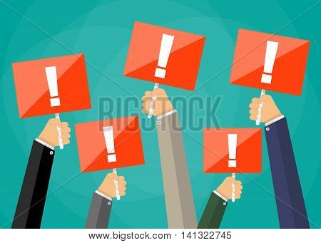 Five cartoon businessmens hands holding red sign boards with exclamation mark. Attention sign. Vector illustration in flat design on green background
