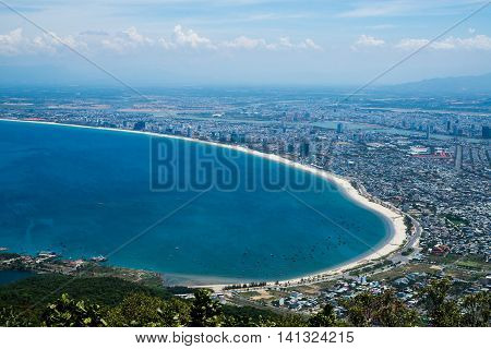 Da Nang city from highview, Vietnam. Danang is young and dynamic city in the middle of Vietnam