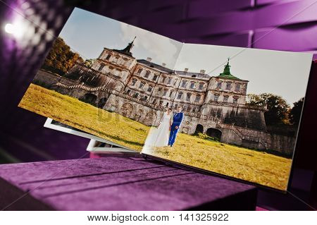 violet velvet photo book and album at wedding