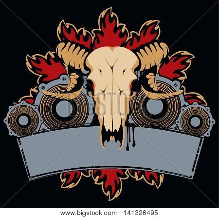 emblem with goat skull wings and speakers