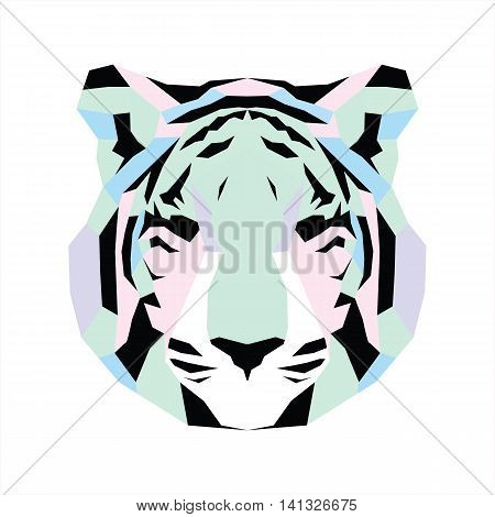 Pastel low poly tiger. Vice geometric art