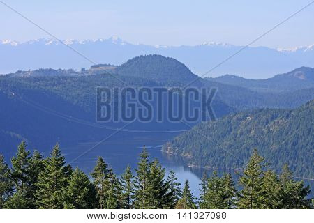 Olympic mountains from Vancouver Island in Canada