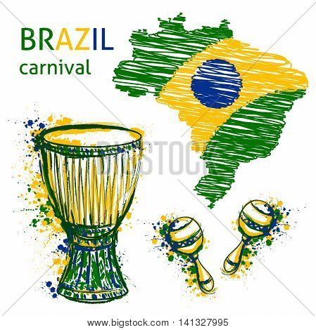 Brazil carnival symbols. Drums tam tam, maracas and brazil map with brazil flag colors. Design concept for banner, card, t-shirt, print, poster. Vector illustration