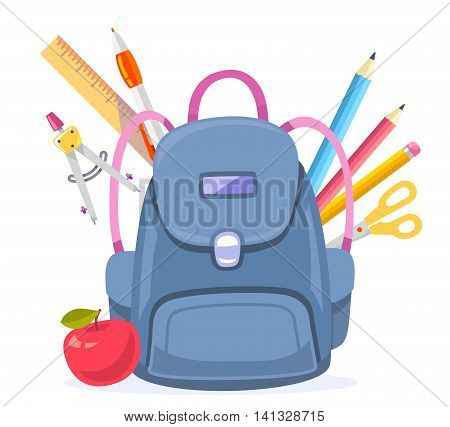 Vector colorful illustration of big blue backpack with red apple and many school supplies isolated on white background. Art school design for web site advertising banner poster brochure board