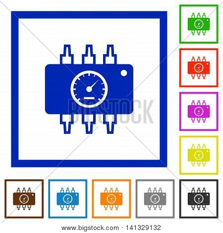 Set of color square framed Chip tuning flat icons