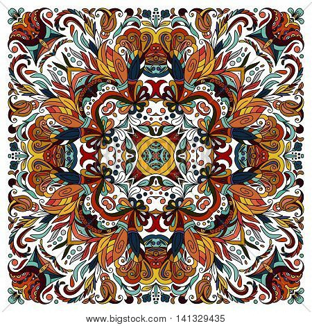 Colorful ornamental floral paisley shawl, bandanna, pillow, scarf. Square pattern. Detailed floral scarf design. Blue brown red eastern ornament on white background. Batik