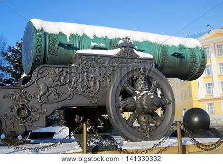Tsar-Cannon in winter. Moscow Kremlin. UNESCO World Heritage Site.