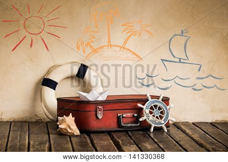 Summer travel and vacation concept. retro summer concept