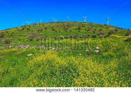 Number of picturesque windmills on top of the hill. Legendary Golan Heights