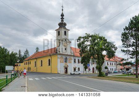 SPISSKE PODHRADIE SLOVAKIA - AUGUST 18 2015: Church of Brothers Hospitallers in Spisske Podhradie Slovakia.