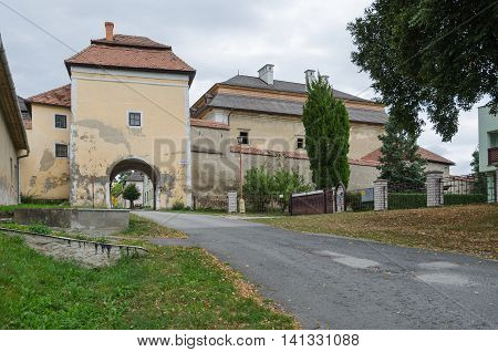 SPISSKA KAPITULA SLOVAKIA - AUGUST 18 2015: The lower gate to the church town Spisska Kapitula Slovakia.