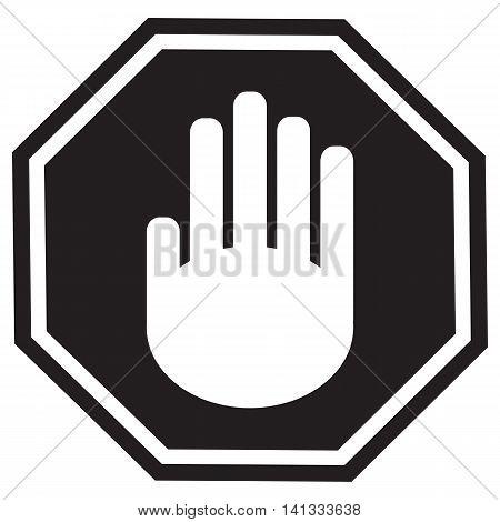 Stop gesture sign black Vector Symbol Sign Illustration Simplicity