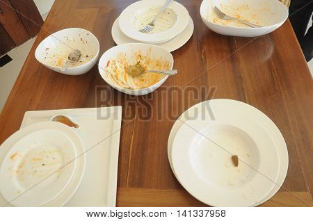 empty plate after after meal on wood table