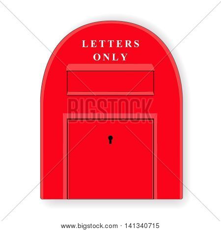 Red post box. Mailbox. Letterbox. Isolated illustration. Vector.