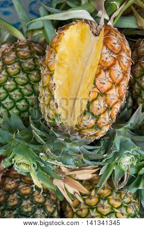 fresh yellow pineapple fruit in Thailand market