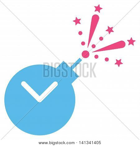 Time Fireworks Charge vector icon. Style is bicolor flat symbol, pink and blue colors, rounded angles, white background.