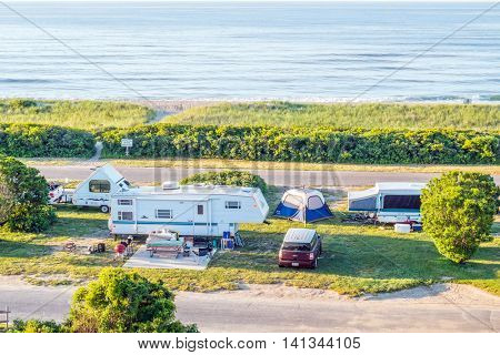 MONTAUK, LONG ISLAND, US, JUNE 18, 2016: Camping at Hither Hills State Park