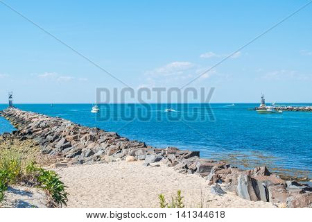 MONTAUK, LONG ISLAND, US, JUNE 18, 2016: Montauk Lake and pier