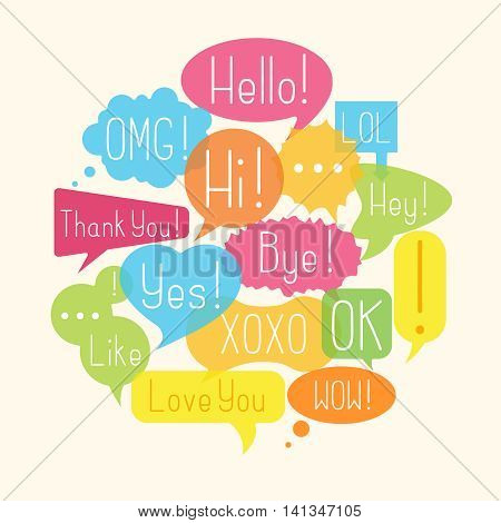 Compositions with speech bubbles with acronyms and abbreviations. Vector illustration
